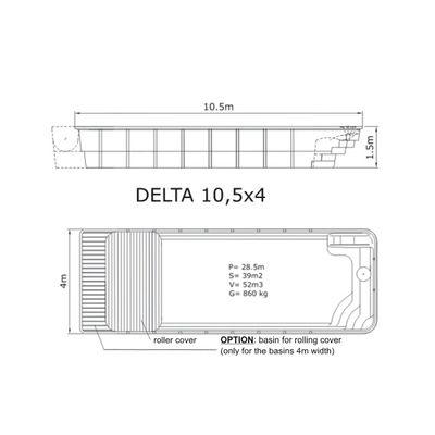 Композитный бассейн Sky Mirror Delta - 10,5 x 4,0 x 1,5 м