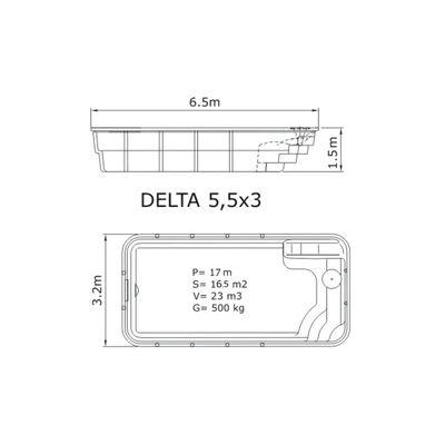 Композитный бассейн Sky Mirror Delta - 5,5 x 3,0 x 1,5 м