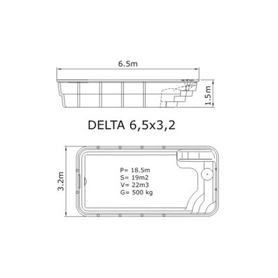 Композитный бассейн Sky Mirror Delta - 6,5 x 3,2 x 1,5 м