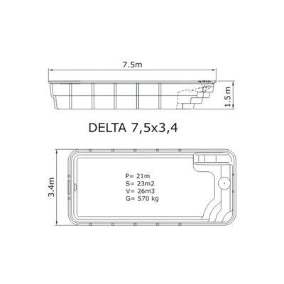 Композитный бассейн Sky Mirror Delta - 7,5 x 3,4 x 1,5 м