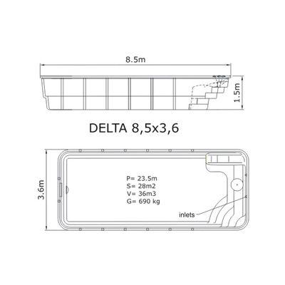 Композитный бассейн Sky Mirror Delta - 8,5 x 3,6 x 1,5 м