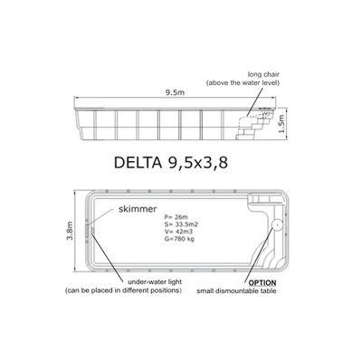 Композитный бассейн Sky Mirror Delta - 9,5 x 3,8 x 1,5 м