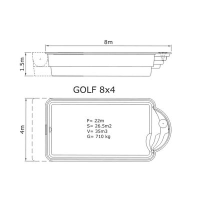 Композитный бассейн Sky Mirror Golf - 8,0 x 4,0 x 1,5 м