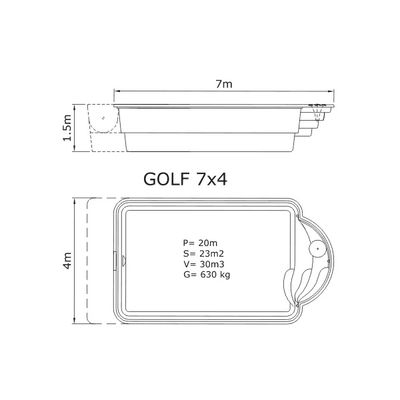 Композитный бассейн Sky Mirror Golf - 7,0 x 4,0 x 1,5 м