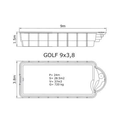 Композитный бассейн Sky Mirror Golf - 9,0 x 3,8 x 1,5 м