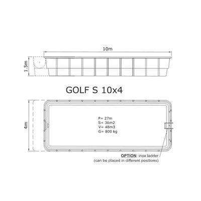 Композитный бассейн Sky Mirror Golf S - 10,0 x 4,0 x 1,5 м