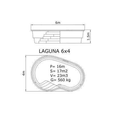 Композитный бассейн Sky Mirror Laguna - 6,0 x 4,0 x 1,5 м