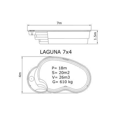 Композитный бассейн Sky Mirror Laguna - 7,0 x 4,0 x 1,5 м