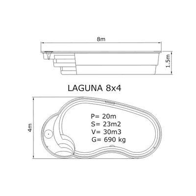 Композитный бассейн Sky Mirror Laguna - 8,0 x 4,0 x 1,5 м