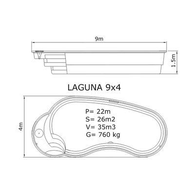 Композитный бассейн Sky Mirror Laguna - 9,0 x 4,0 x 1,5 м