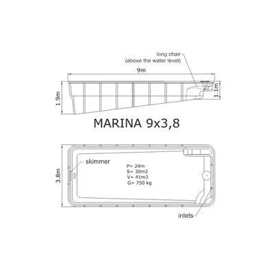 Композитный бассейн Sky Mirror Marina - 9,0 x 3,8 x 1,9 м