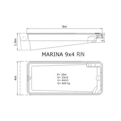 Композитный бассейн Sky Mirror Marina - 9,0 x 4,0 x 1,9 м