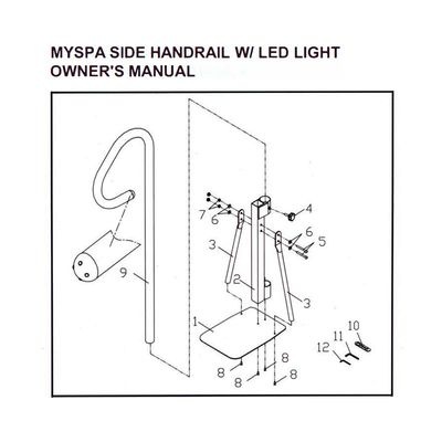 Поручень c LED-подсветкой Myspa Side Handrail